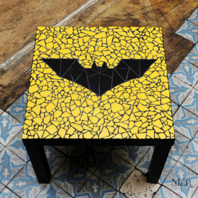 "Table ""Geek"" Batman logo 2005 - 55x55 cm - Faïence (carrelage)"