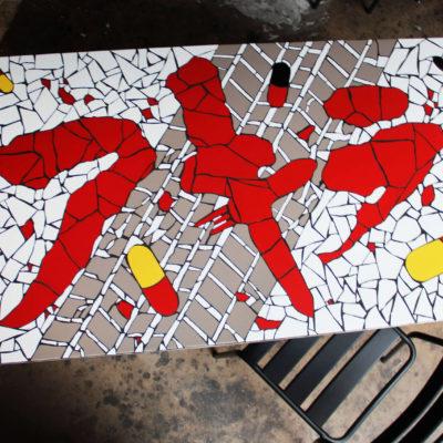 "Table ""Geek"" Akira - 55x55 cm - Faïence (Carrelage)"