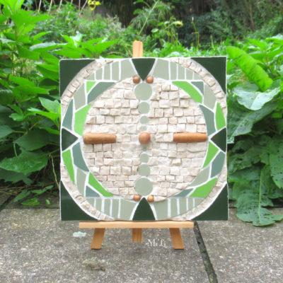 A vendre - Cercle de vie - 19,5cmx20,2 cm - Faïence, marbre, perles en bois
